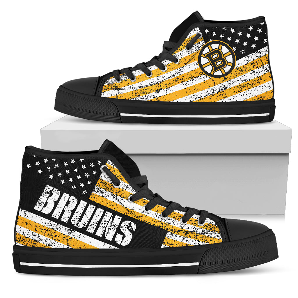 e8fcf04793fd ... America Flag Italic Vintage Style Boston Bruins High Top Shoes ...