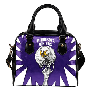 Saw Tooth Border Wonderful Hand Up Minnesota Vikings Shoulder Handbag