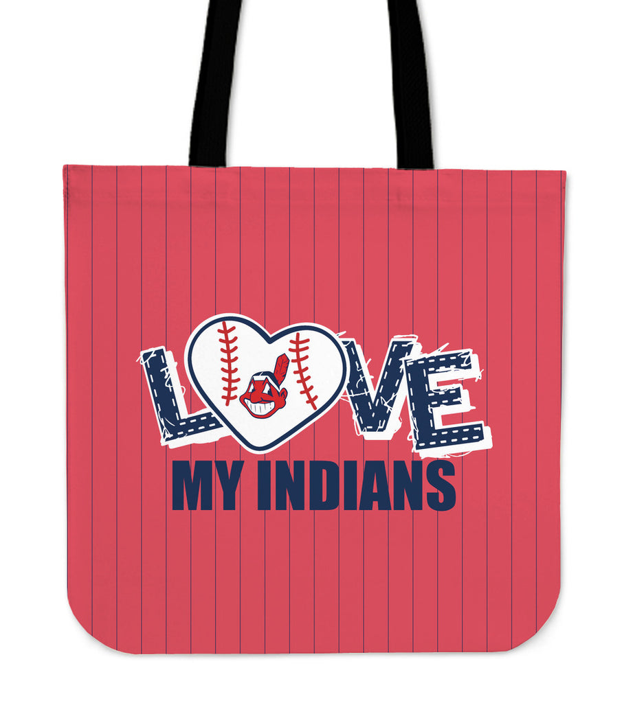 Love My Cleveland Indians Vertical Stripes Pattern Tote Bags