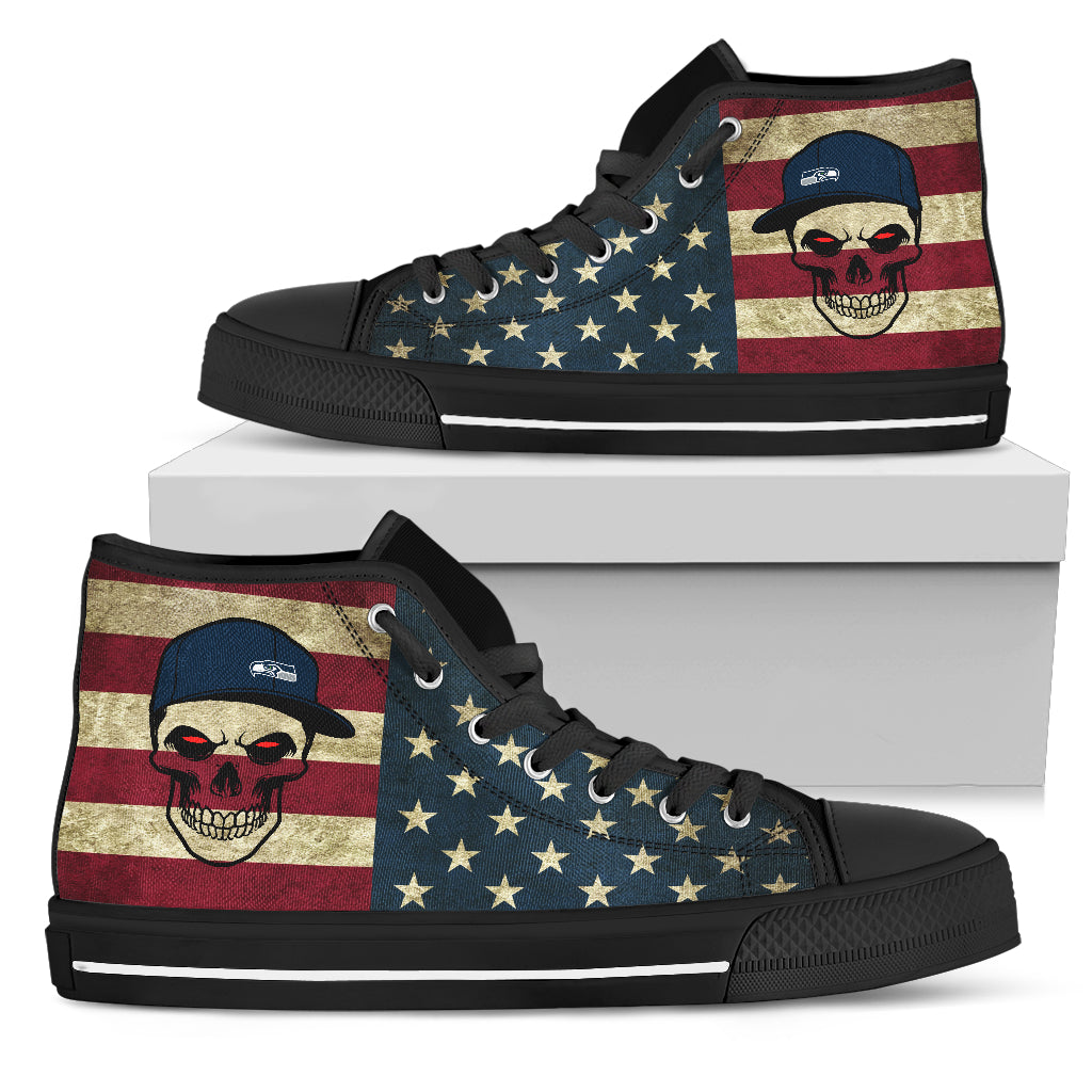 Skull Flag Vintage Style Seattle Seahawks High Top Shoes