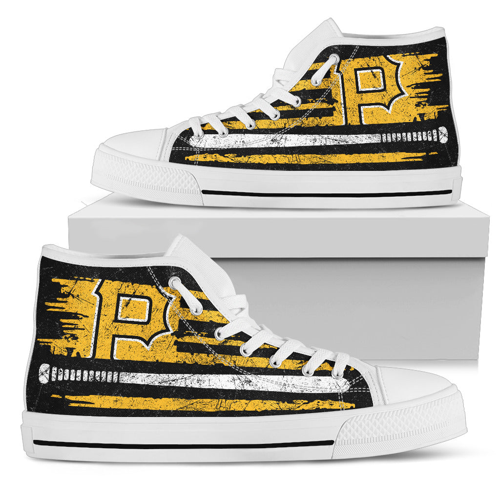American Flag Vintage Baseball Pittsburgh Pirates High Top Shoes