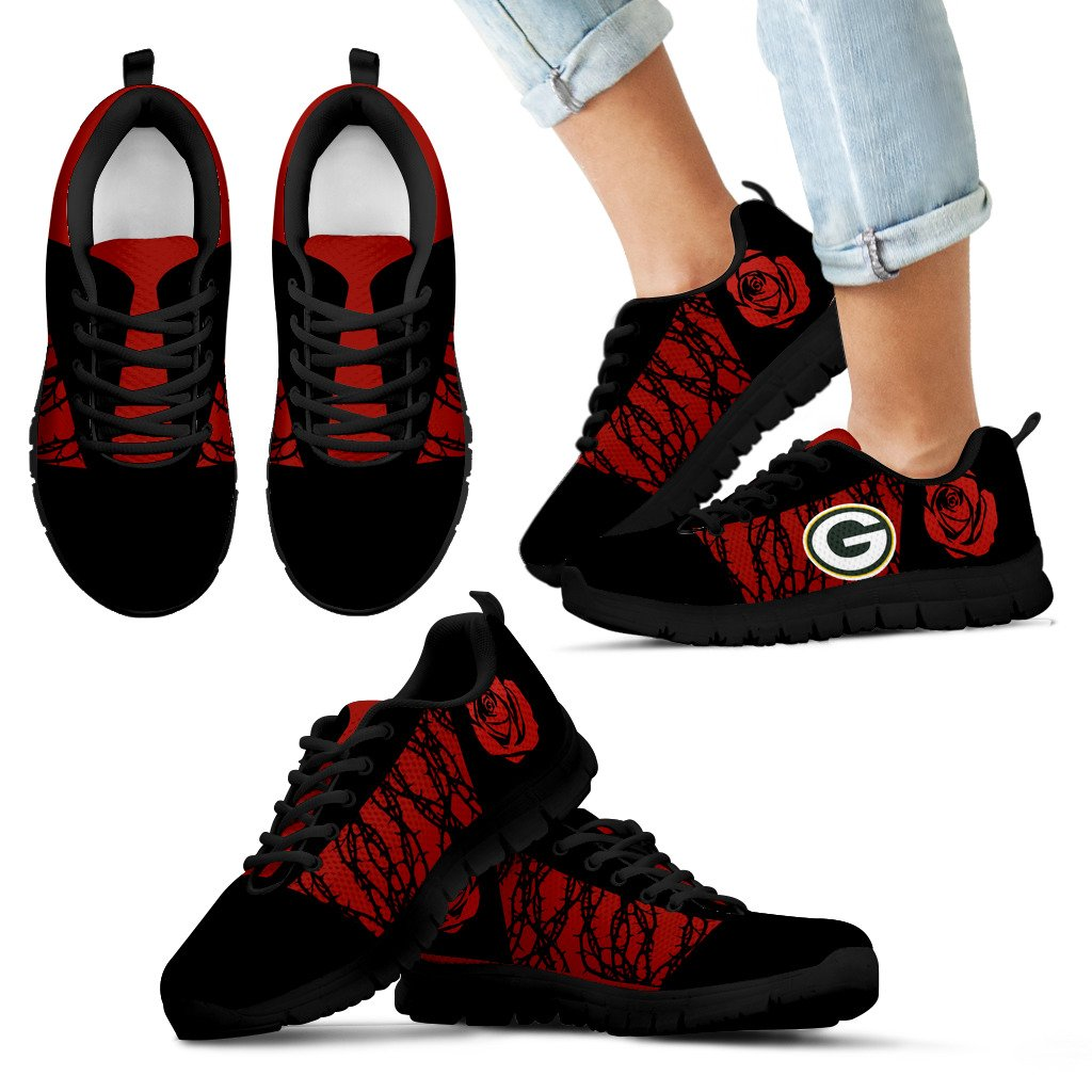 new product 8fcbe fd302 Rose Plant Gorgeous Lovely Logo Green Bay Packers Sneakers – Best Funny  Store