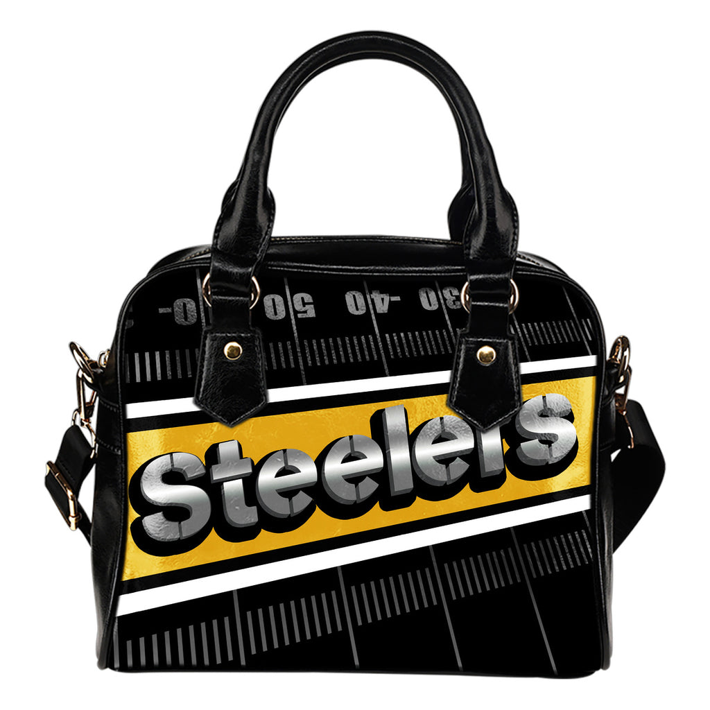 Pittsburgh Steelers Silver Name Colorful Shoulder Handbags