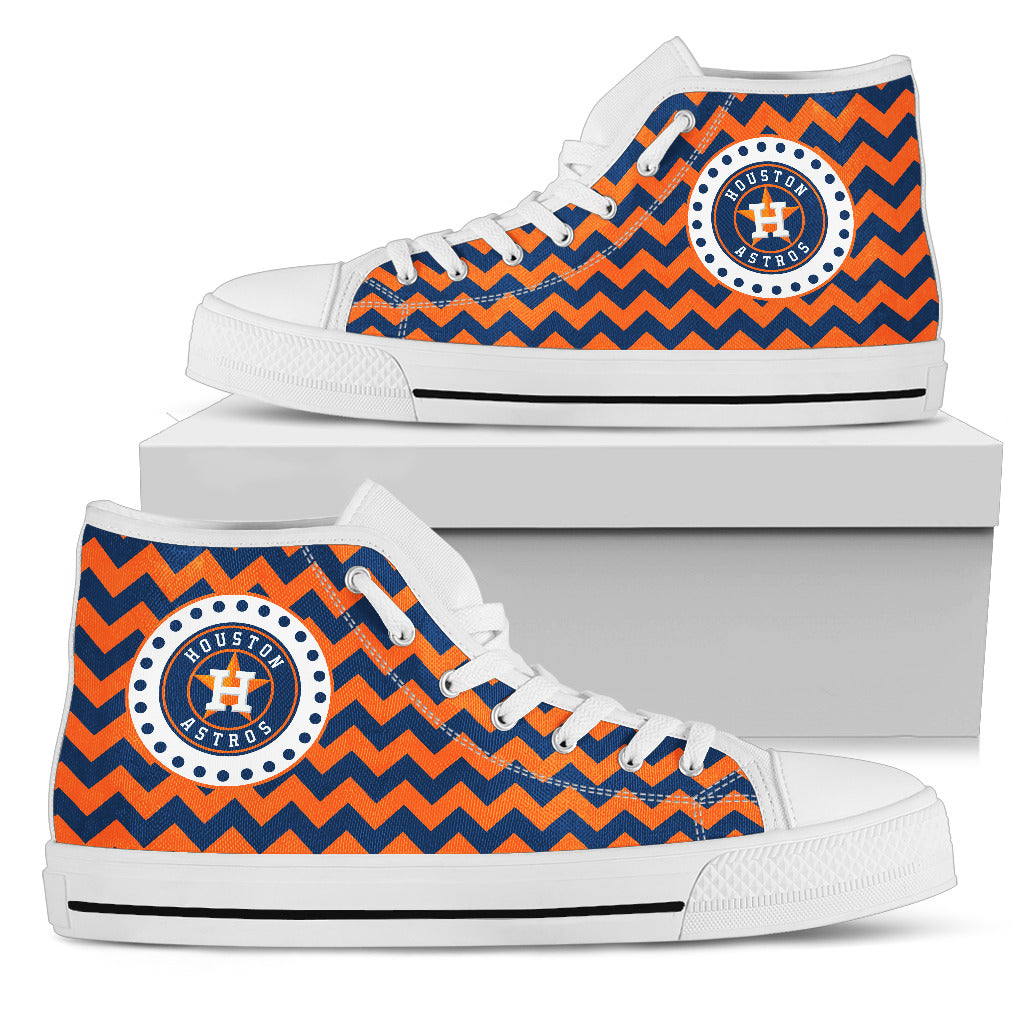 Chevron Broncos Houston Astros High Top Shoes