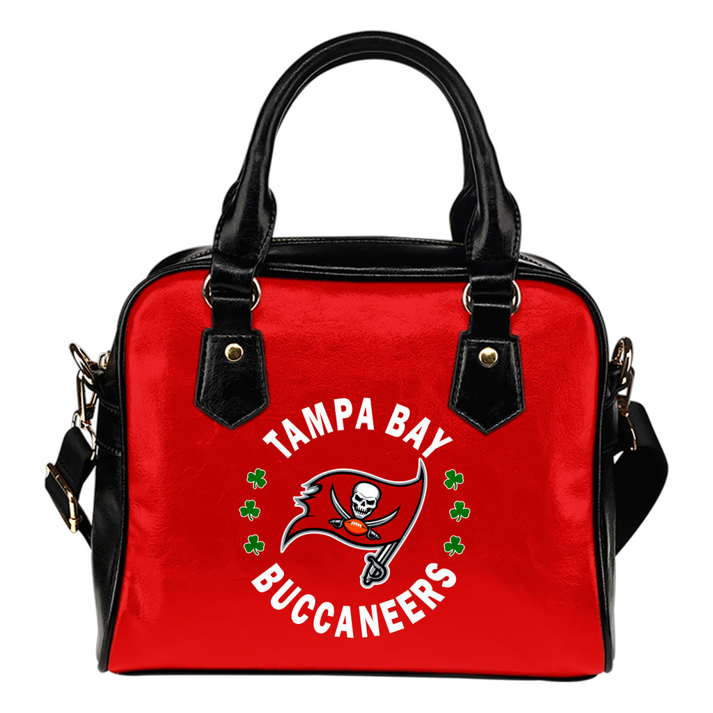 Central Beautiful Logo Circle Lucky Leaf Tampa Bay Buccaneers Shoulder Handbags