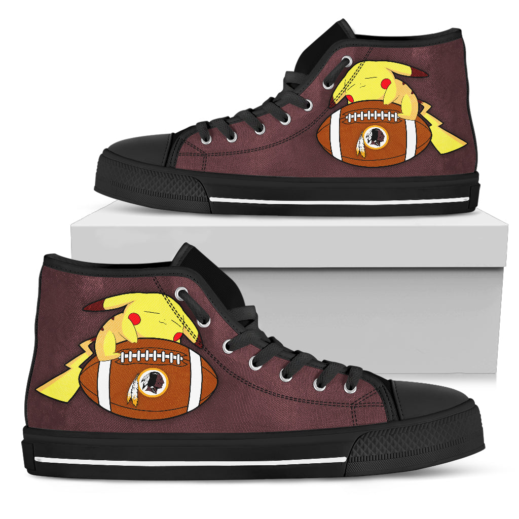 Unique Pikachu Laying On Ball Washington Redskins High Top Shoes