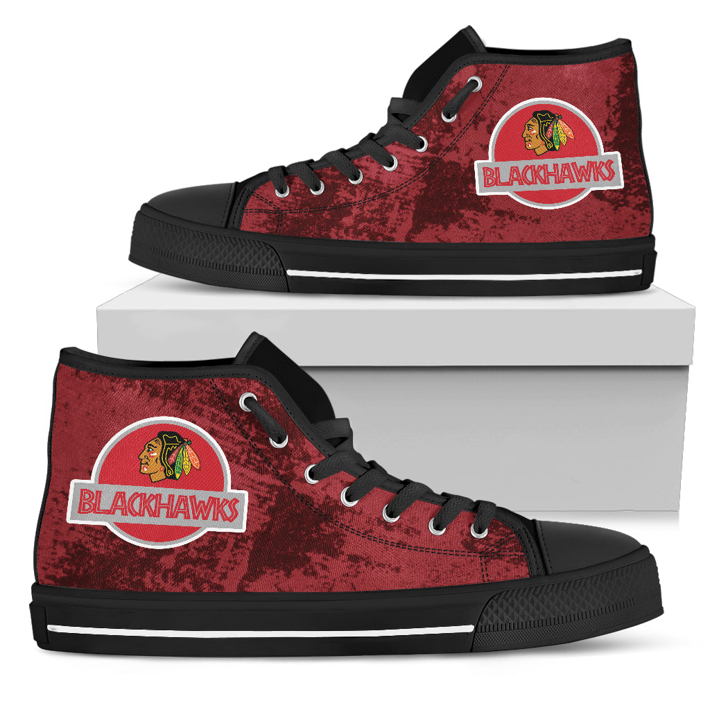 Jurassic Park Chicago Blackhawks High Top Shoes