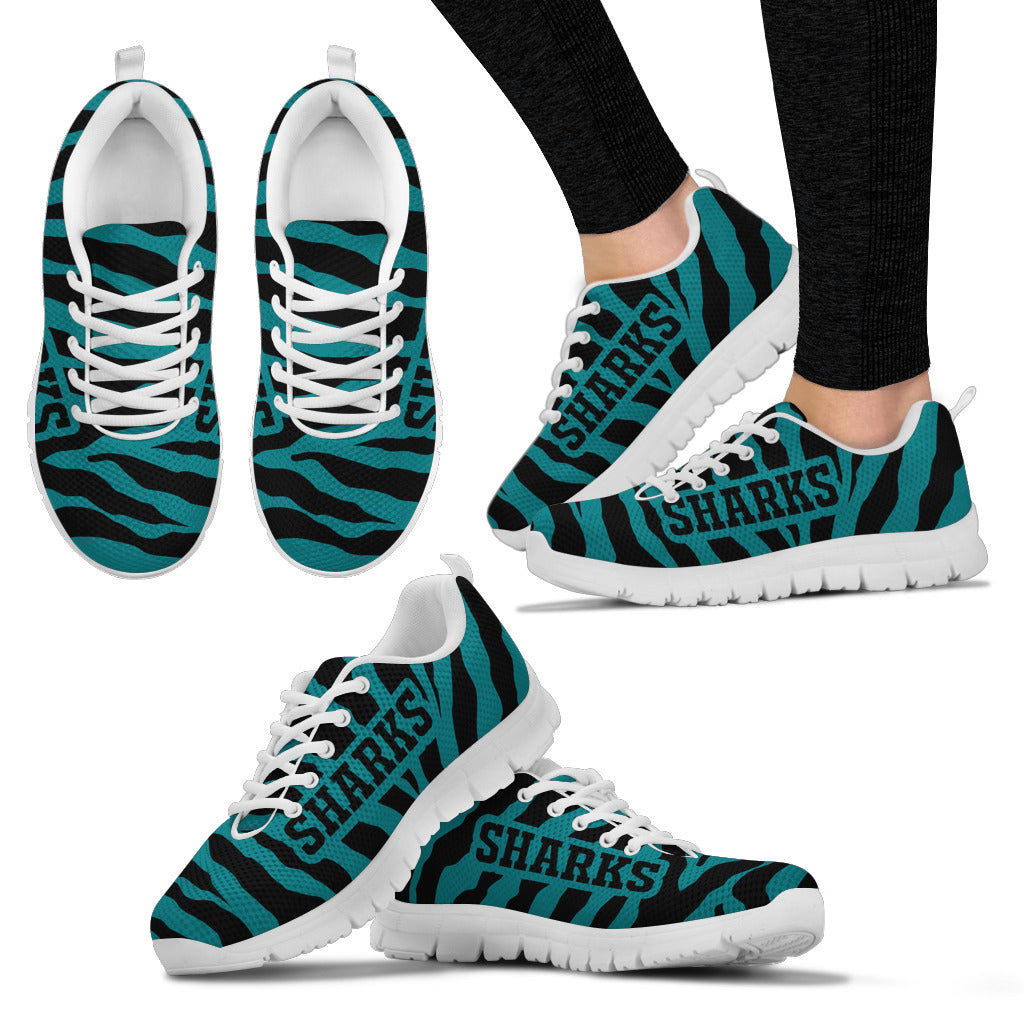 Tiger Skin Stripes Pattern Print San Jose Sharks Sneakers