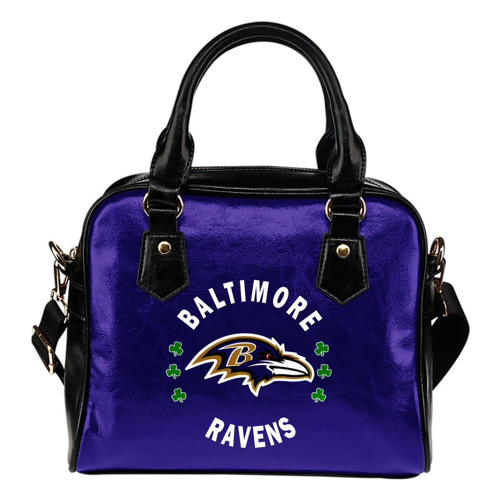 Central Beautiful Logo Circle Lucky Leaf Baltimore Ravens Shoulder Handbags