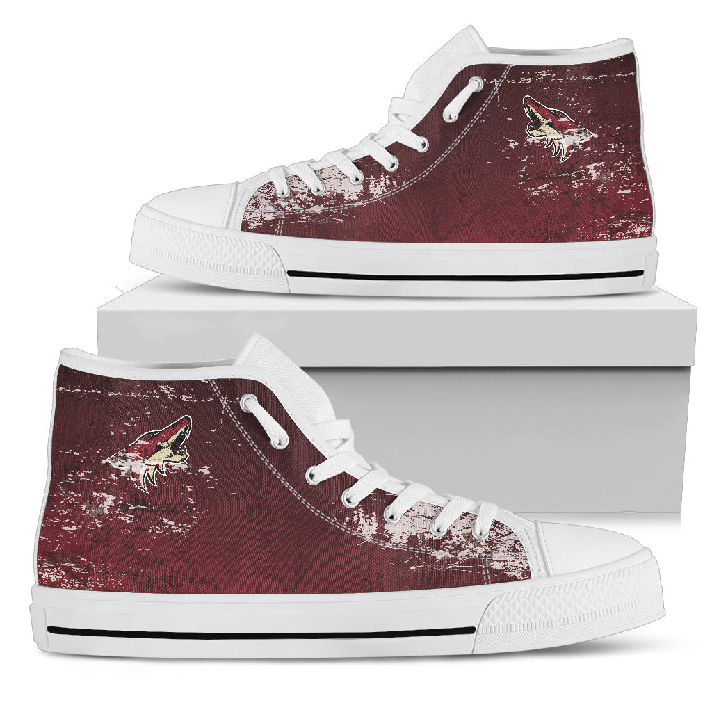 Grunge Vintage Logo Arizona Coyotes High Top Shoes