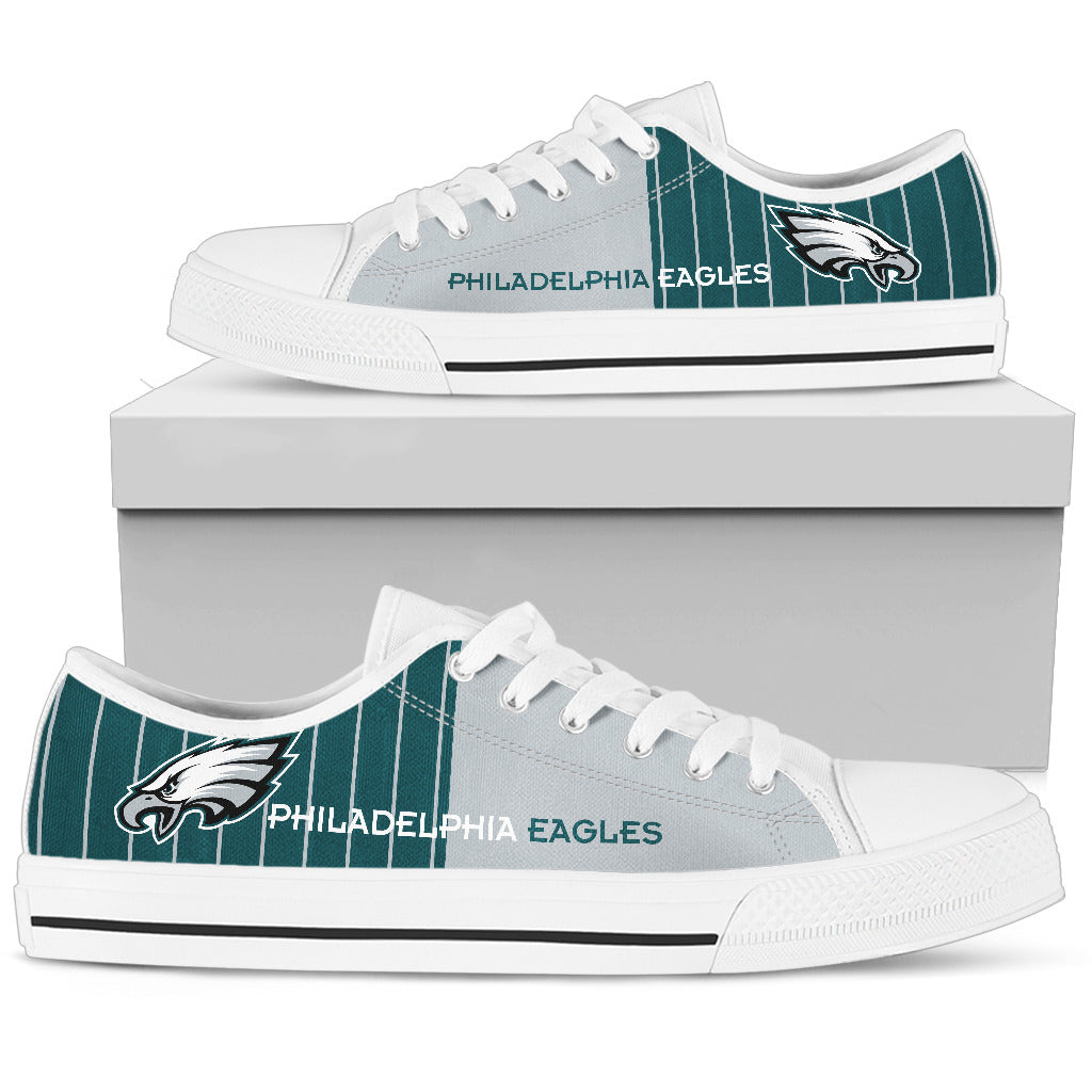Philadelphia Eagles High Low Canvas Sneakers Style 1 various sizes use chart
