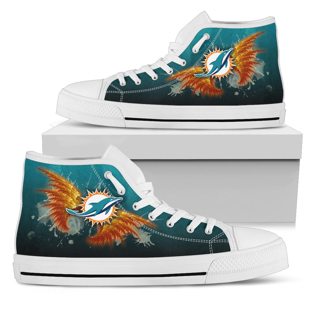 Angel Wings Miami Dolphins High Top Shoes