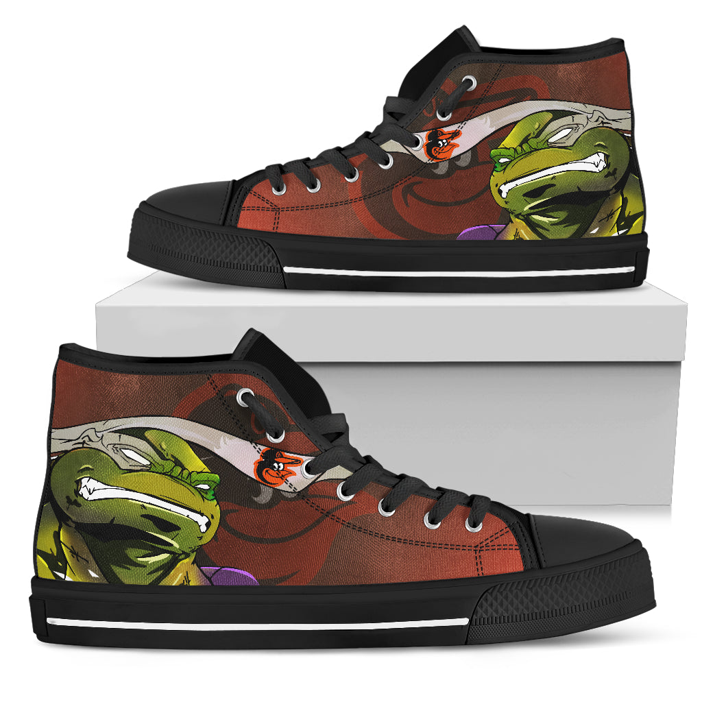 Turtle Baltimore Orioles Ninja High Top Shoes