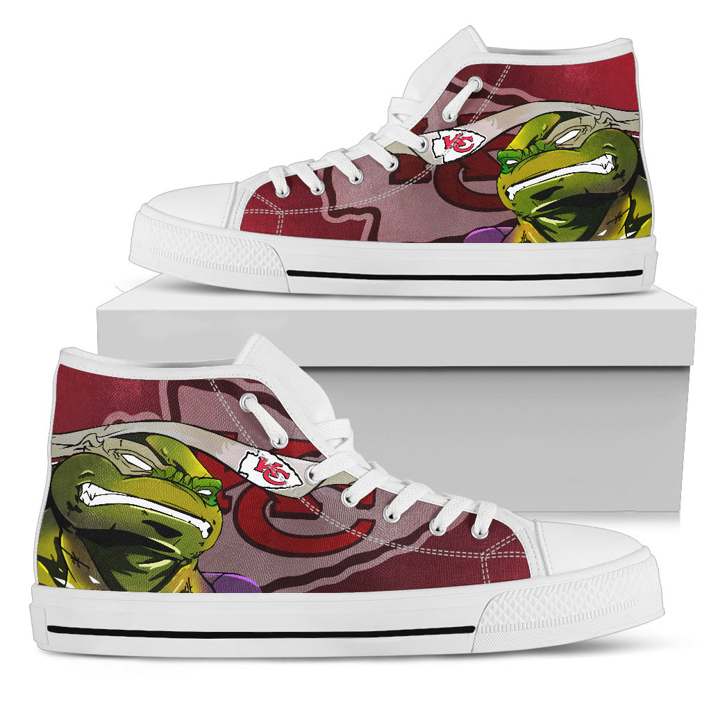 Turtle Kansas City Chiefs Ninja High Top Shoes
