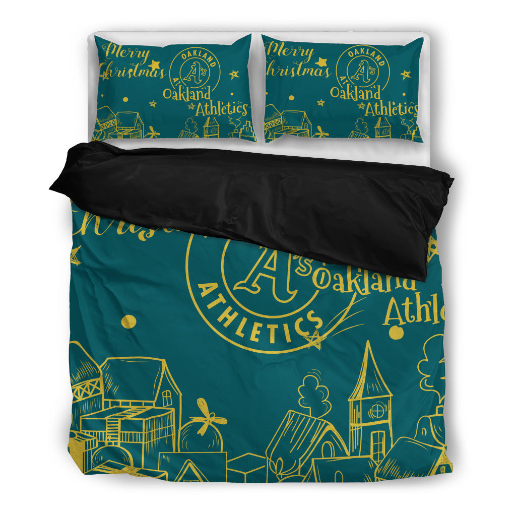 Nice Present Comfortable Christmas Oakland Athletics Bedding Sets