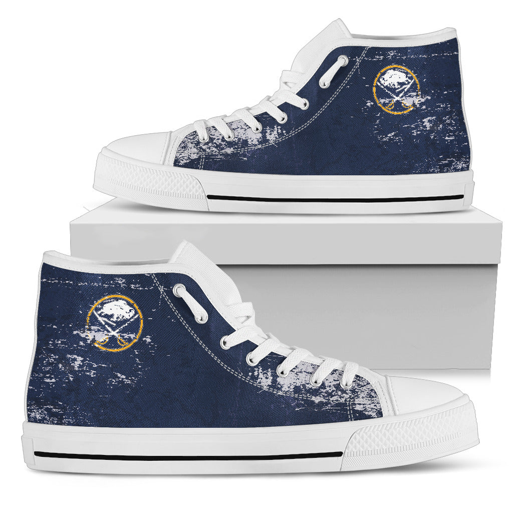 Grunge Vintage Logo Buffalo Sabres High Top Shoes