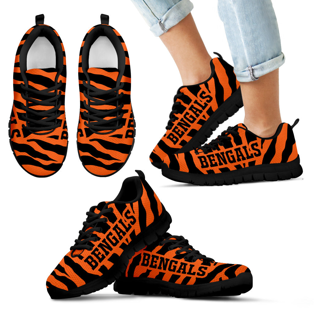 Tiger Skin Stripes Pattern Print Cincinnati Bengals Sneakers