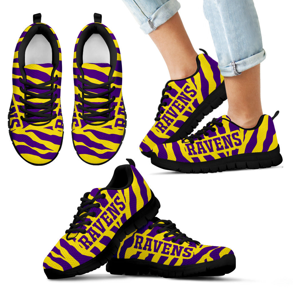 Tiger Skin Stripes Pattern Print Baltimore Ravens Sneakers