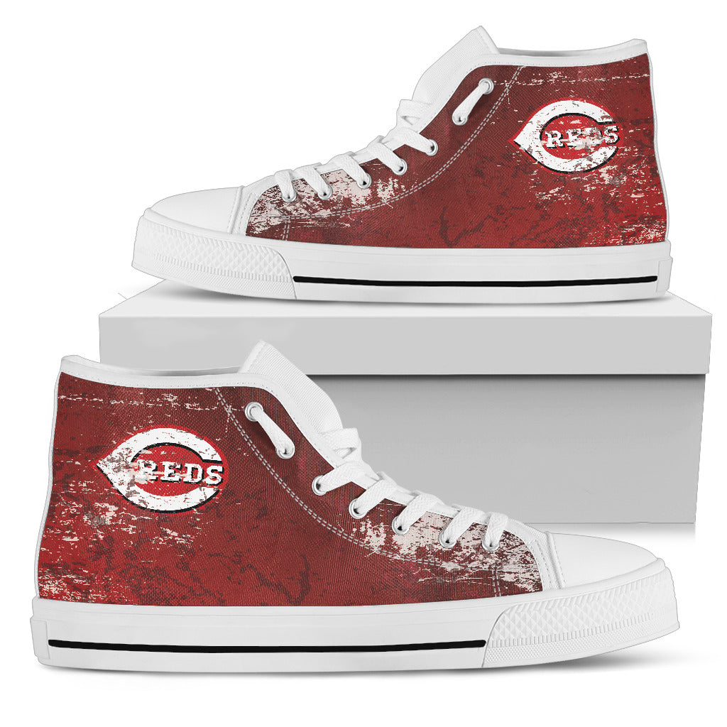 Grunge Vintage Logo Cincinnati Reds High Top Shoes