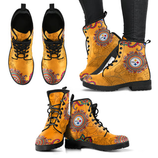 Golden Peace Hand Crafted Awesome Logo Pittsburgh Steelers Leather Boots