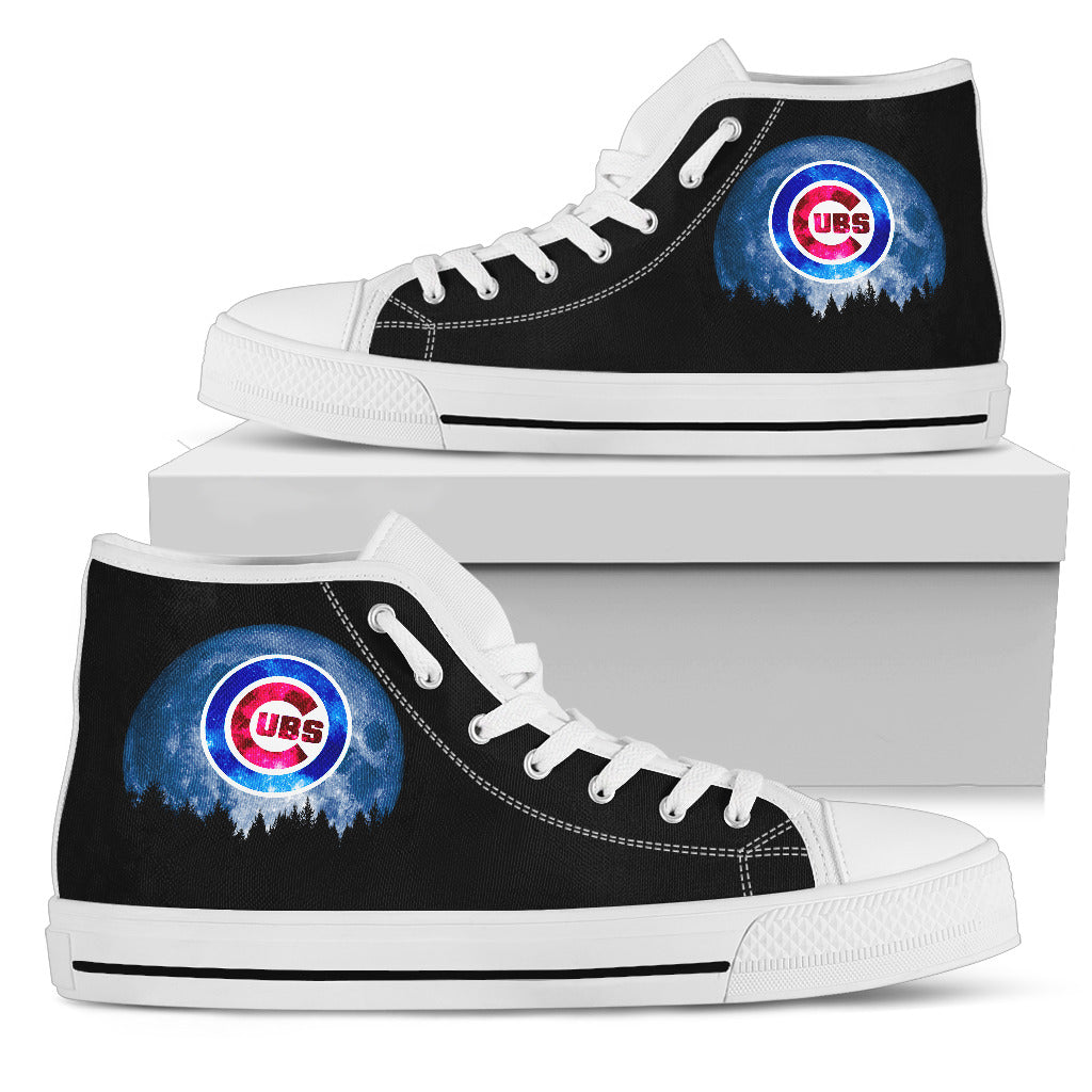 Halloween Orange Moon Mystery Chicago Cubs High Top Shoes
