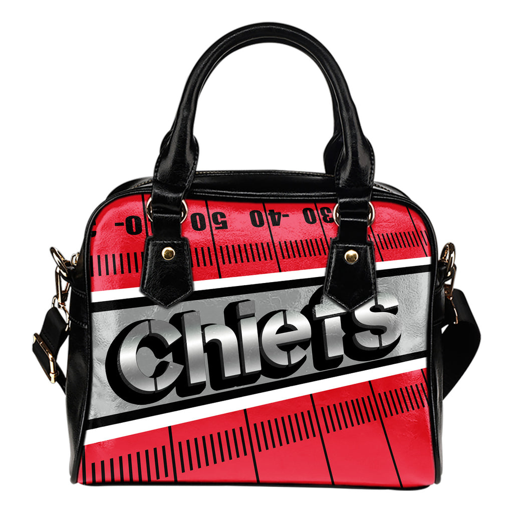 Kansas City Chiefs Silver Name Colorful Shoulder Handbags