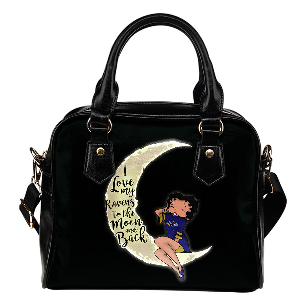 BB I Love My Baltimore Ravens To The Moon And Back Shoulder Handbags Women Purse