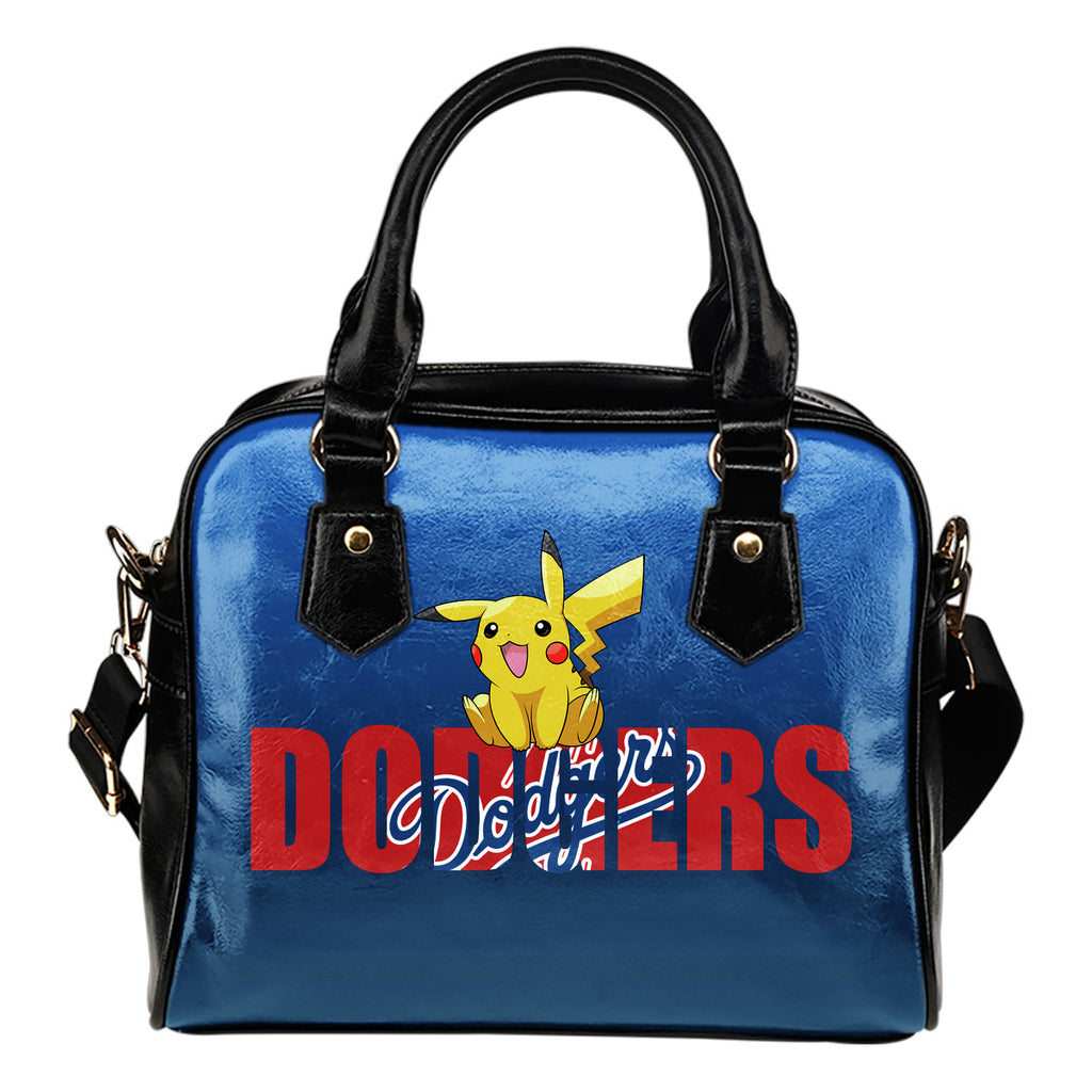 Pokemon Sit On Text Los Angeles Dodgers Shoulder Handbags