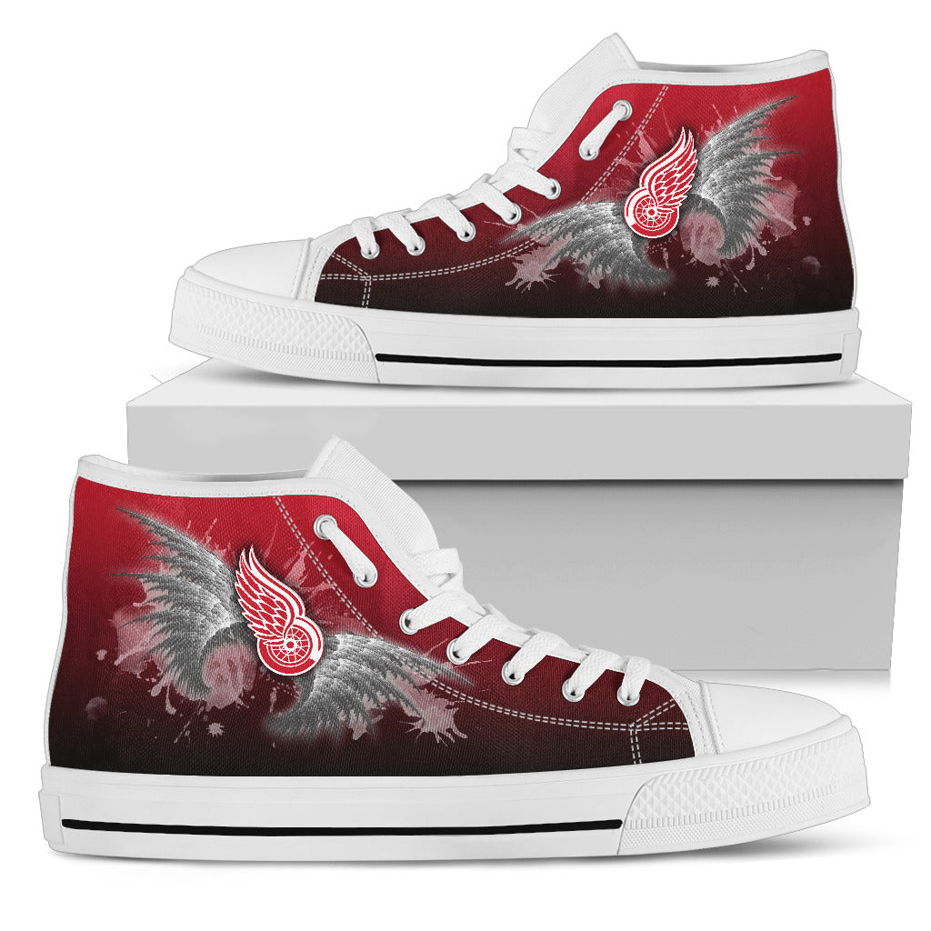 Angel Wings Detroit Red Wings High Top Shoes