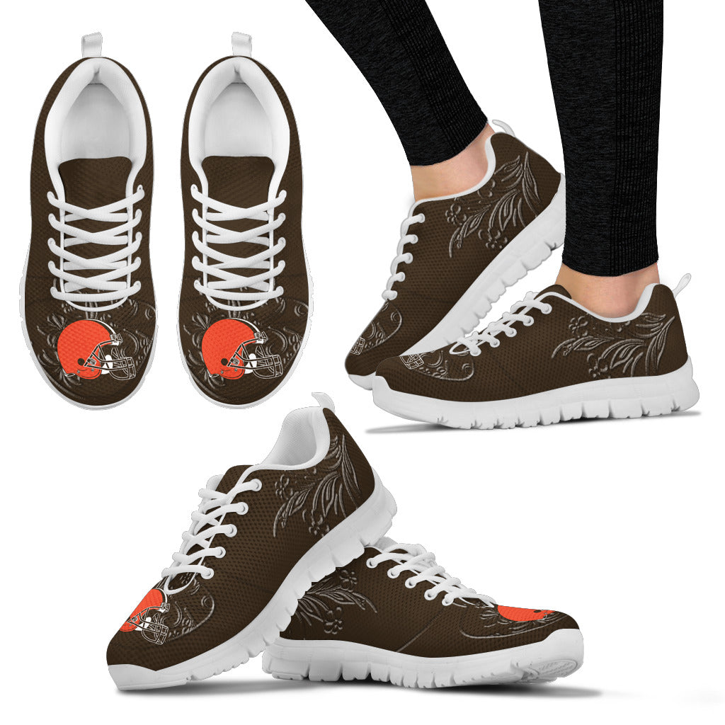 Lovely Floral Print Cleveland Browns Sneakers