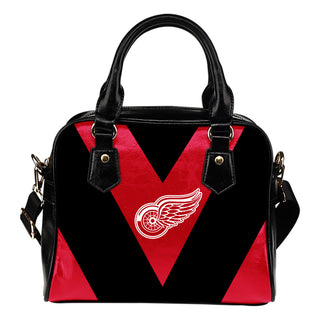 Triangle Double Separate Colour Detroit Red Wings Shoulder Handbags