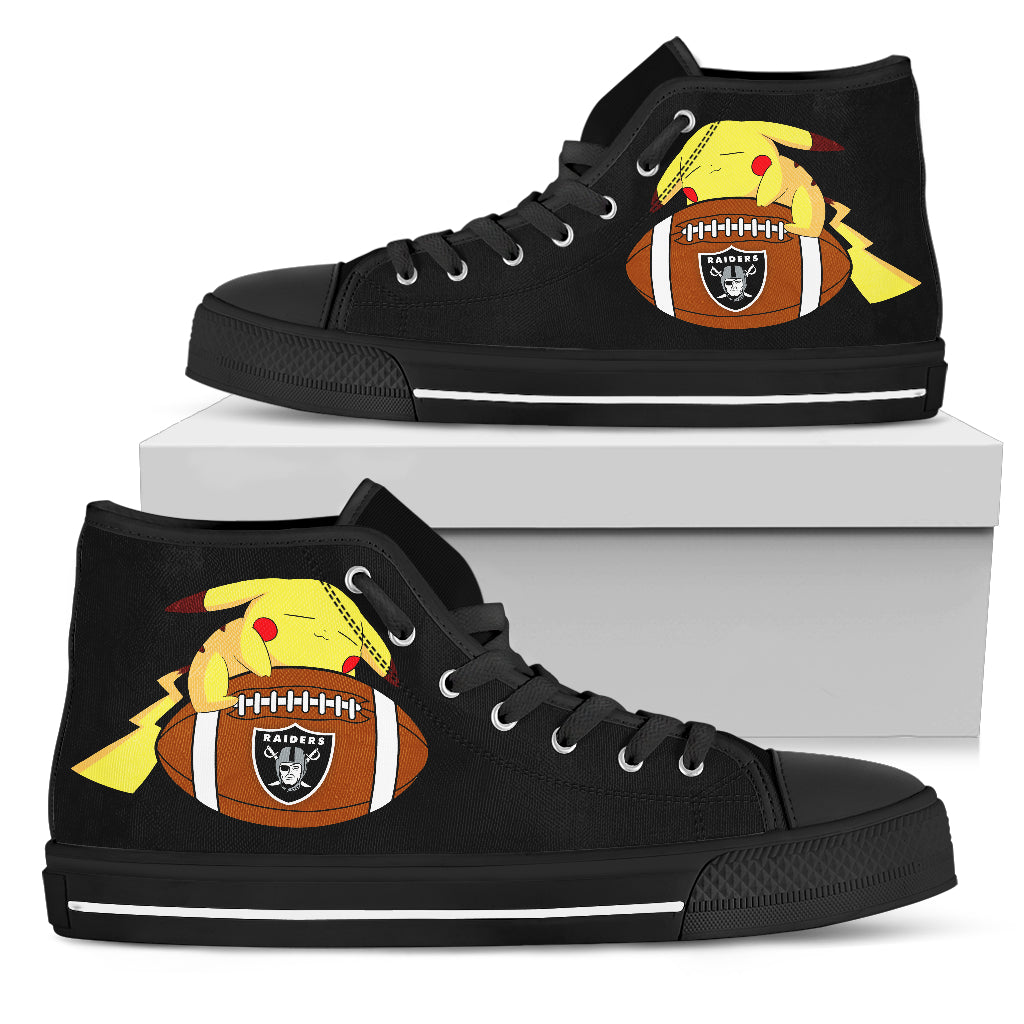 Cute Pikachu Laying On Ball Oakland Raiders High Top Shoes