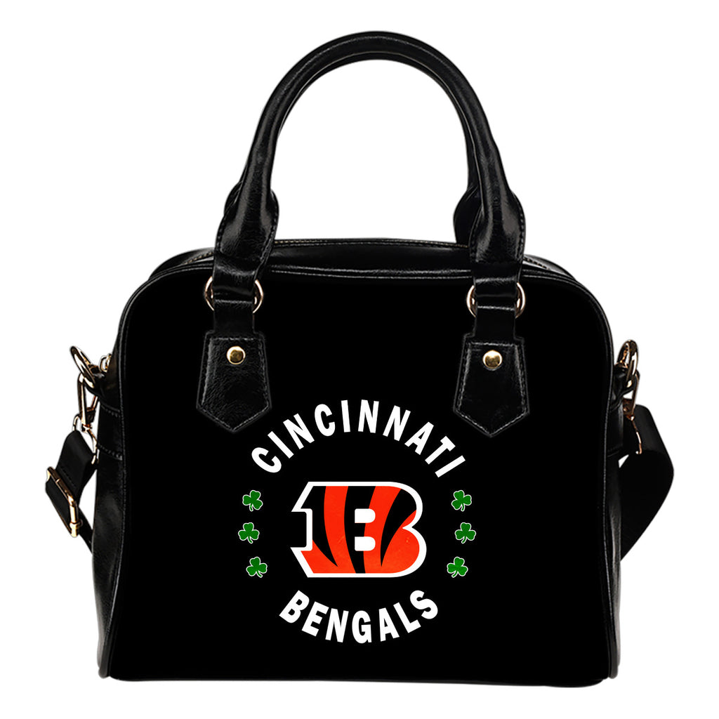 Central Beautiful Logo Circle Lucky Leaf Cincinnati Bengals Shoulder Handbags