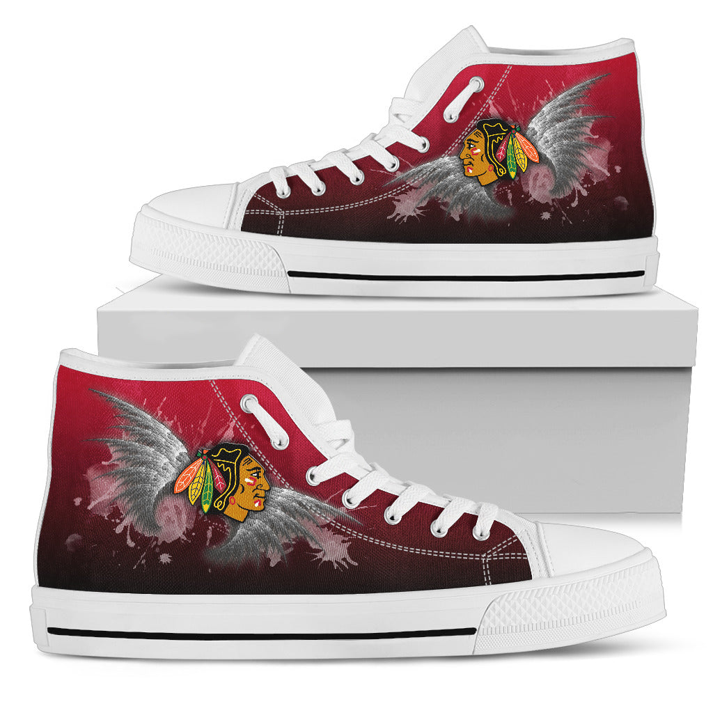 Angel Wings Chicago Blackhawks High Top Shoes