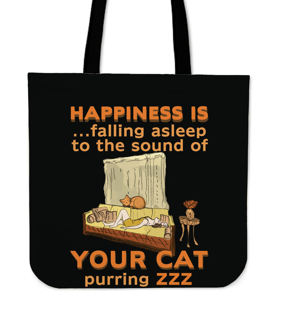 Happiness Is Falling Asleep Tote Bags