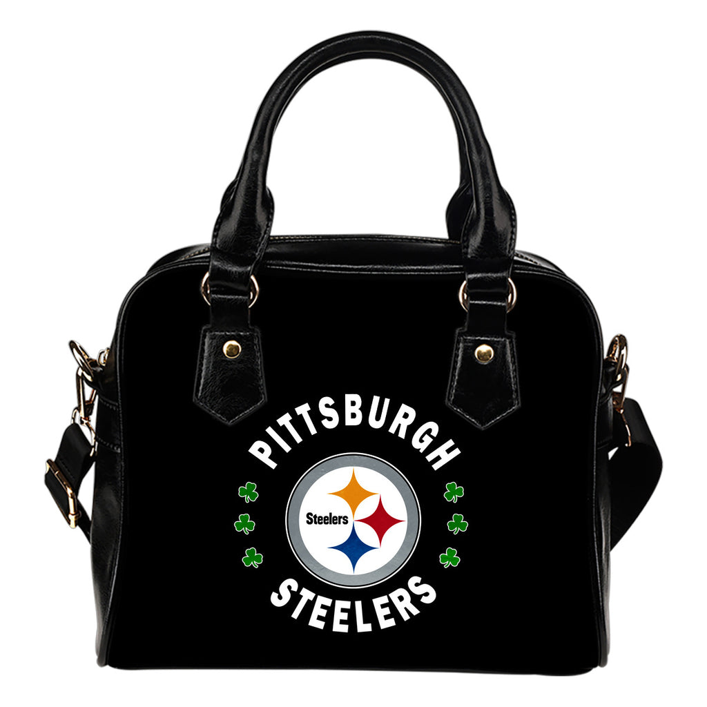 Central Beautiful Logo Circle Lucky Leaf Pittsburgh Steelers Shoulder Handbags