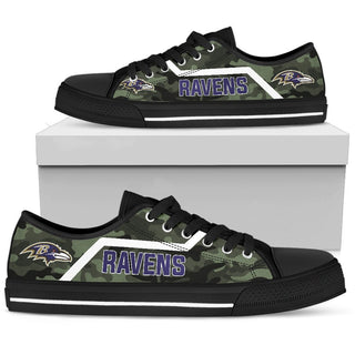 Camo Baltimore Ravens Logo Low Top Shoes