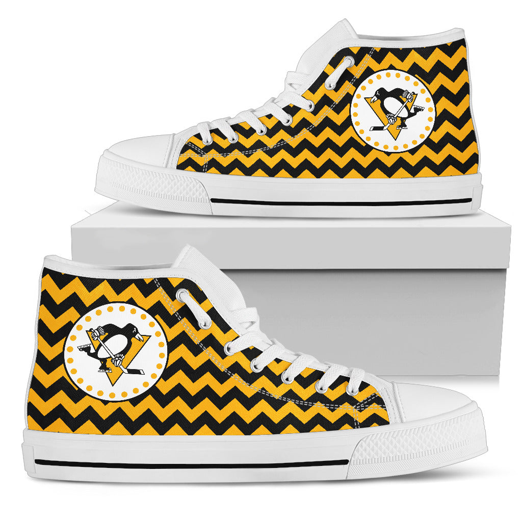 Chevron Broncos Pittsburgh Penguins High Top Shoes