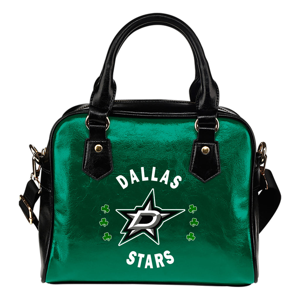 Central Beautiful Logo Circle Lucky Leaf Dallas Stars Shoulder Handbags