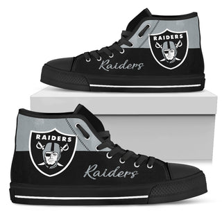 Divided Colours Stunning Logo Oakland Raiders High Top Shoes