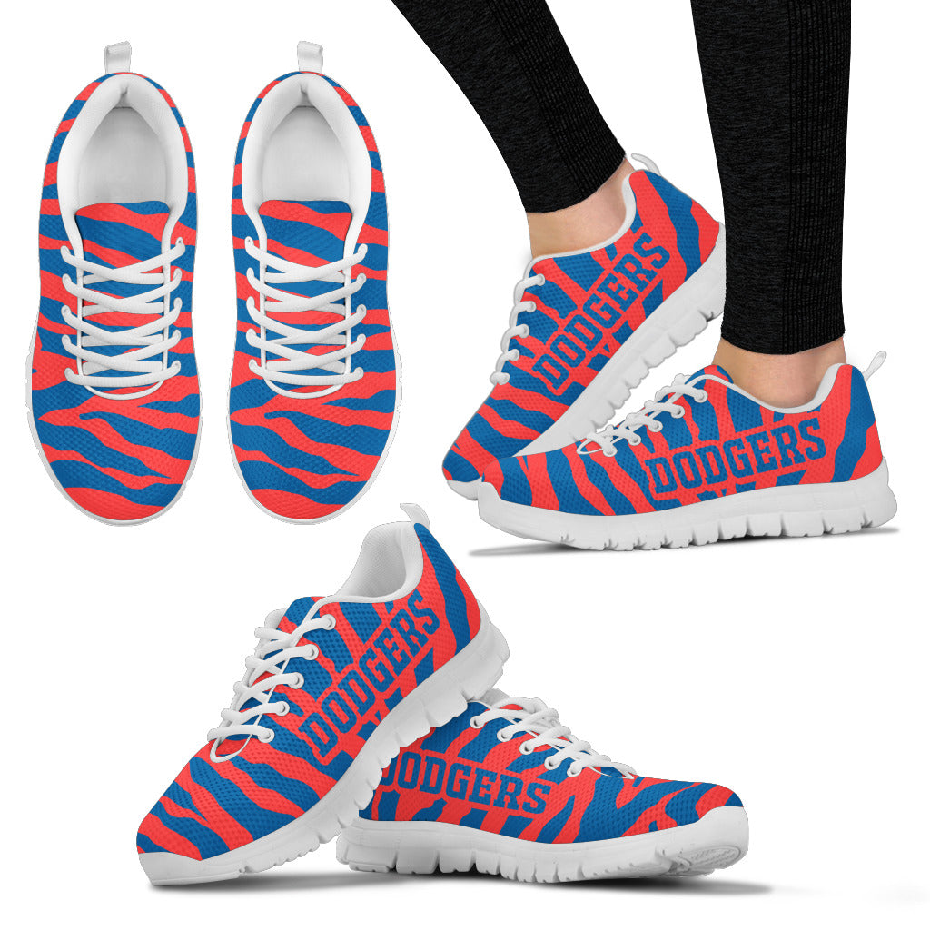 Tiger Skin Stripes Pattern Print Los Angeles Dodgers Sneakers