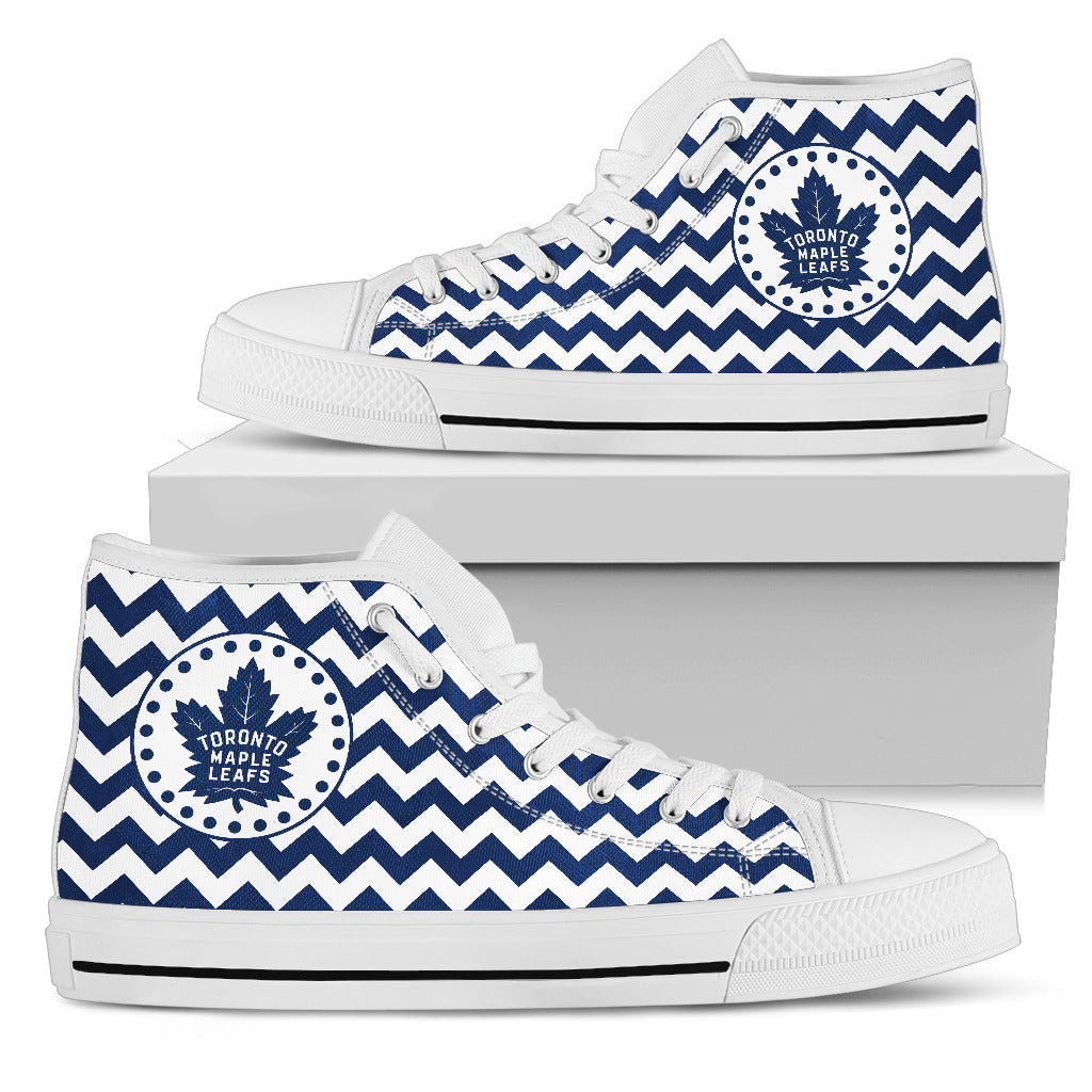 Chevron Broncos Toronto Maple Leafs High Top Shoes