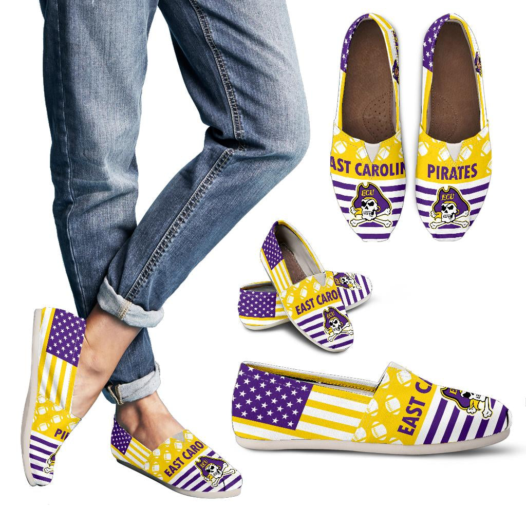 American Flag East Carolina Pirates Casual Shoes