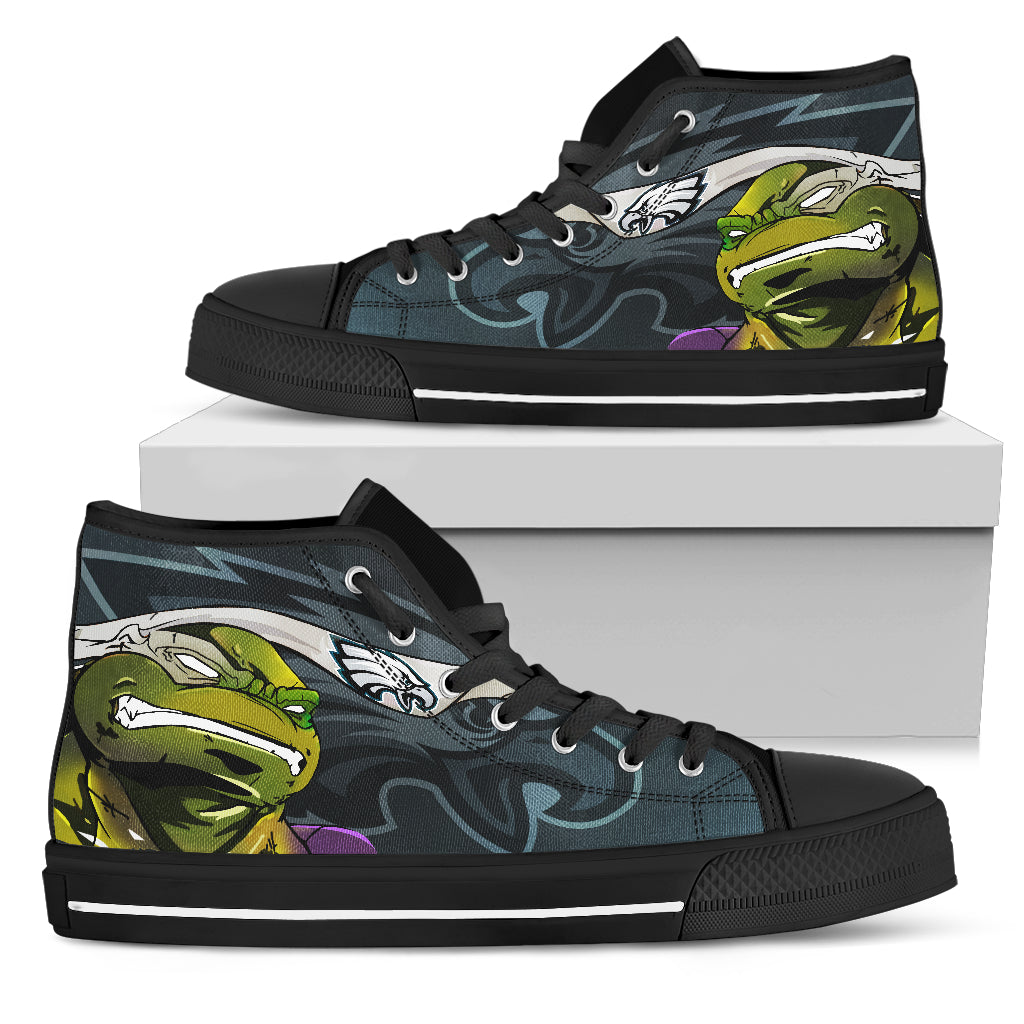 Turtle Philadelphia Eagles Ninja High Top Shoes