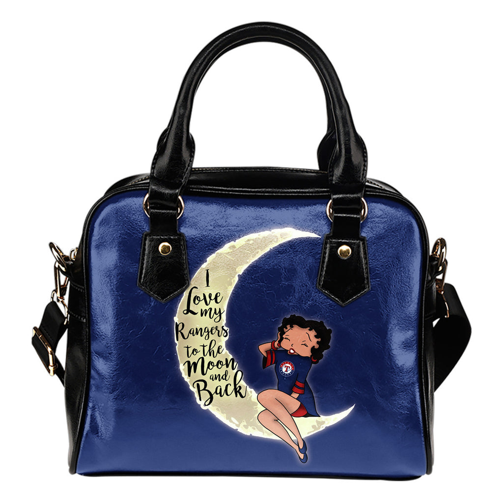 I Love My Texas Rangers To The Moon And Back Shoulder Handbags - Best Funny Store