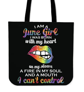 I Am A June Girl Tote Bags