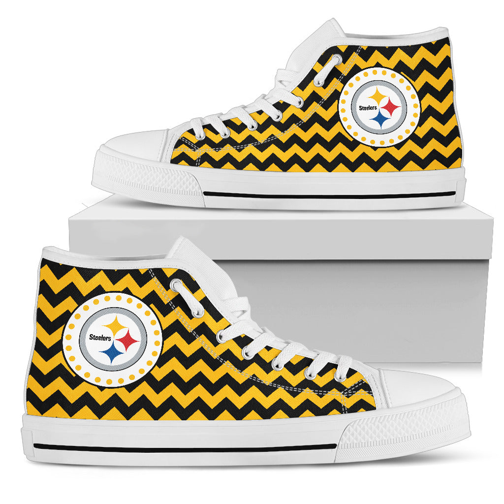 Chevron Broncos Pittsburgh Steelers High Top Shoes