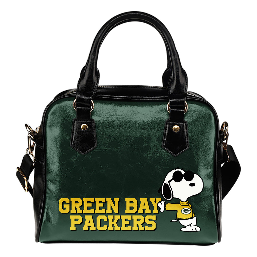 Green Bay Packers Cool Sunglasses Snoopy Shoulder Handbags Women Purse