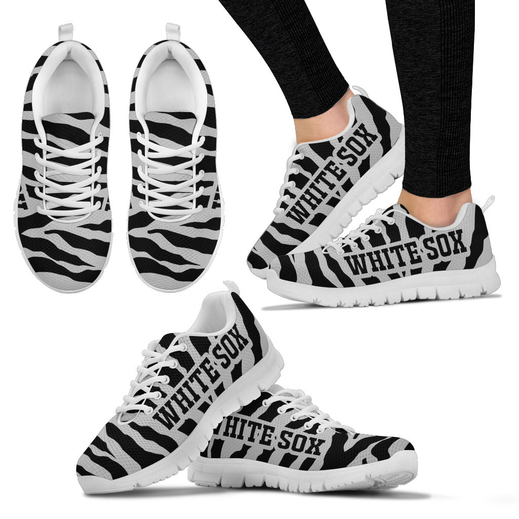 Tiger Skin Stripes Pattern Print Chicago White Sox Sneakers
