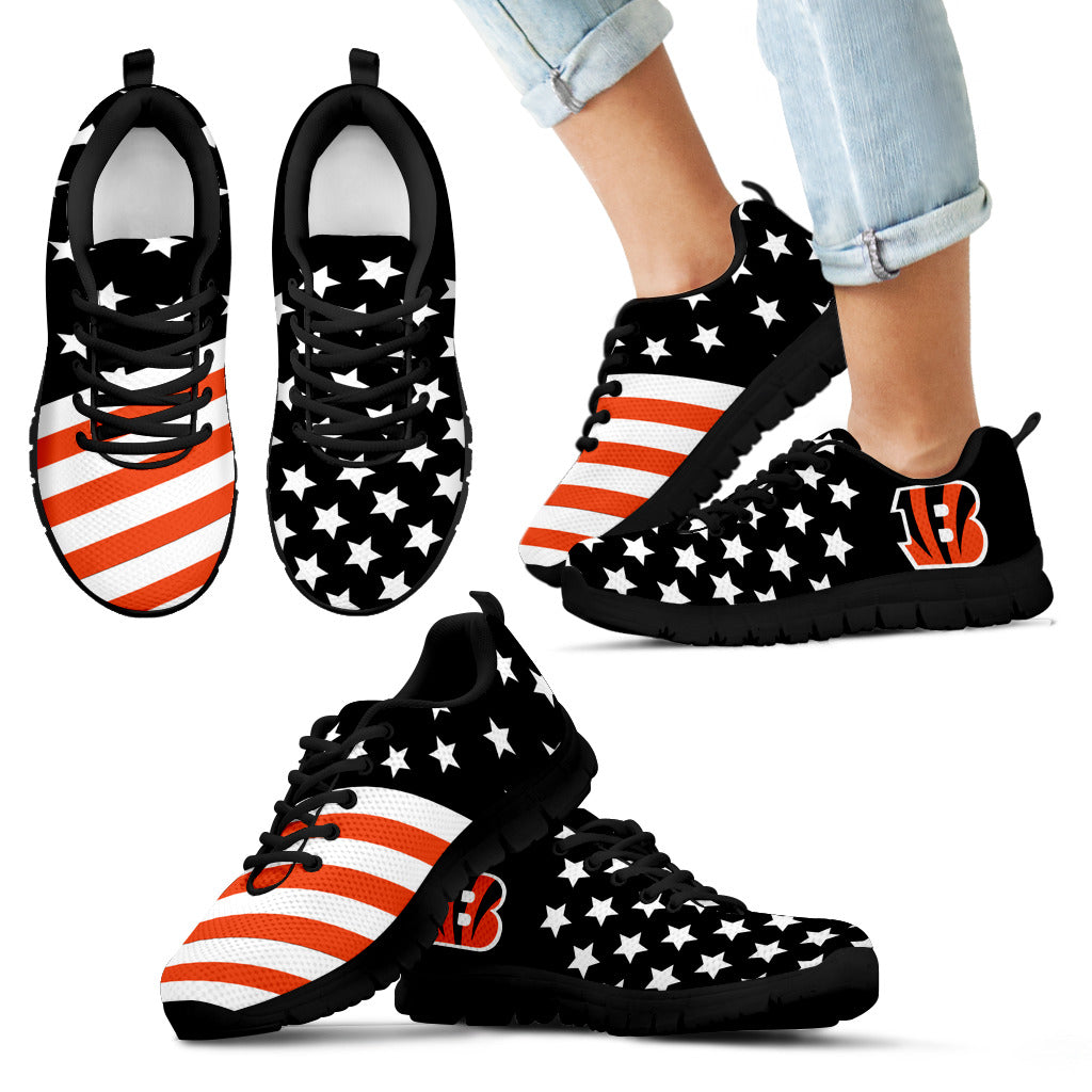 America Flag Full Stars Stripes Cincinnati Bengals Sneakers